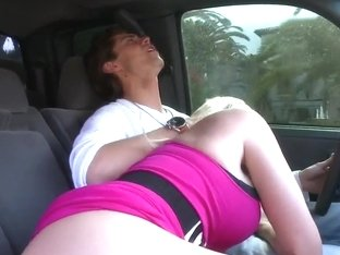 Buxom blonde milf Brittanie Lane starts oral interlude right in the car