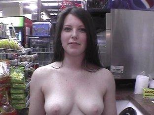 hot brunette naked in restaurant, gas station
