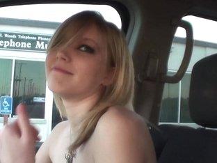 Blonde Girl With Dark Eye Makeup Driving Around Naked