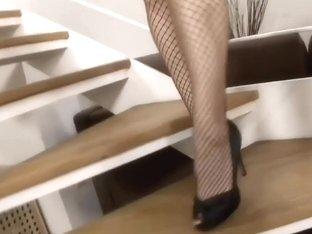 Blonde glasses stockings high heels anal