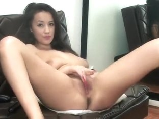 Cutie SuperbBianca dancing striptease and masturbating on a black couch