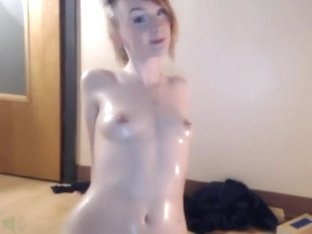 nice oiled girl plays with her sweet pussy