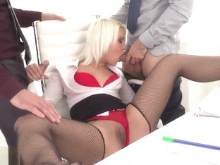 Blonde Babe Cecilia Scott Double Screwed By Huge Hard Cocks