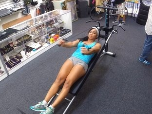 Muscular woman wants to sell her all in one equipment ends up fucked