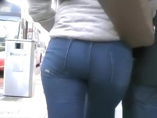 Blonde in tight jeans pants with nice ass