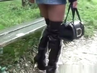 Shortest microskirt and furfetish overknee boots