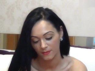 Brunette babe AlynaBellaa fucks herself with rubber dildo