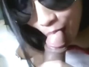 Oriental airline stewardess giving deepthroat oral pleasure