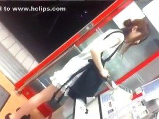cute Japanese girl shopping upskirt