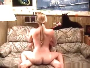 Ponytailed blonde has cowgirl, doggystyle and missionary sex on the sofa.