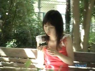 Black hair asian teen in a pink shirt sharking video for free