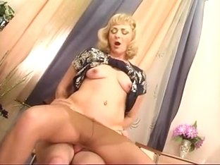 blonde mature fucks young man