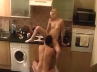 Kinky blonde gets bent over the kitchen counter and pounded hard
