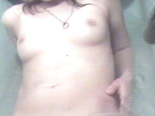 Amateur fucks pussy with hair comb on hidden voyeur cam
