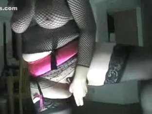 fishnet and stockings dildo play