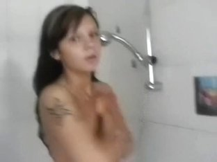 Girlfriends film every other in the shower