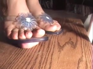 Women with light blue transparent sandals cock trample