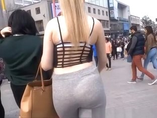 Blonde in gray leggings ass wiggling