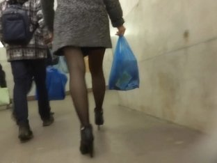 russian shopping day with black stockings in metro and mall