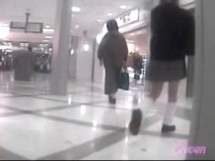 Asian schoolgirl was skirt sharked inside of a shopping mall