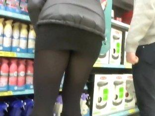 Sexy thong peeks thru nylons in upskirt