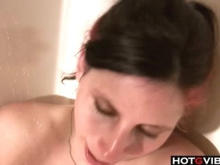 Brunette plays solo in the shower __  __  __
