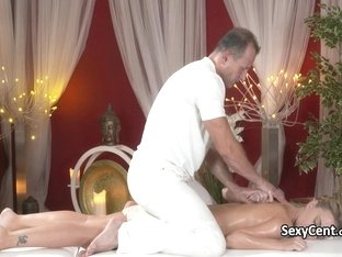 Blonde beauty got masseurs big cock