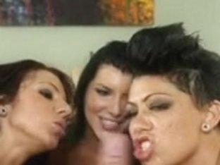 3 Women engulfing schlong