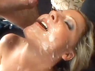 Sensual blonde who likes male cream receives cumshots