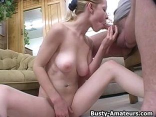 Busty blonde Candance on blowjob POV