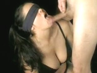 French Brunette GF Blindfolded BJ
