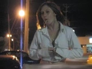 Flashing my jugs in on the car