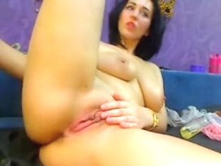 Brunette Milf Makes Some Cash On Webcam Show By Fucking Herself With Sex Toy And Playing With Boob.