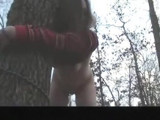 Pretty brunette milf girlfriend are tree tied,gets spanking and fucking