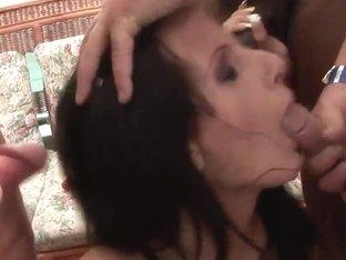 Gang bang of the dark haired girl Cora Wild