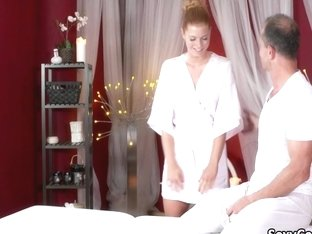 Redhead teen cumed shaking after massage
