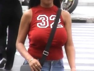 Candid Huge Busty Red Top