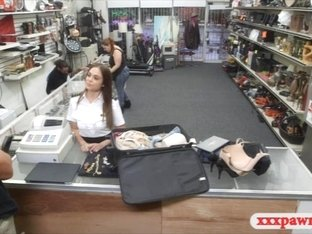 Latina stewardess pawns her pussy and fucked to earn cash