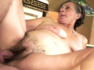 Naughty granny reveals her oral abilities and relishes a hard banging