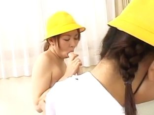 Naughty Japanese AV Models in hot lesbian foursome