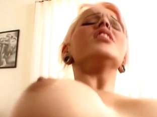 Sweetheart with pink hair and awesome scoops has wild fuck then eats a load of cum