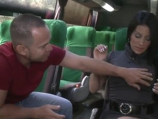 Juliana shows her shaved pussy in the bus