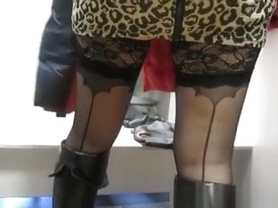 Woman upskirted by her man