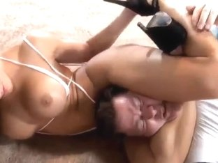 hot muscle girl with big tits destroys guy