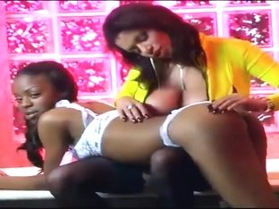 Threesome with two black teen girls and huge black dick