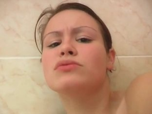 Tiny titted teen gets facialized at shower
