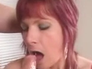 Redhead gives the best MILF blowjob on the internet