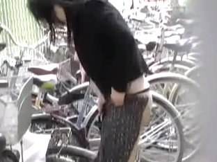 Bike sharking action with lovable little sweetie having her skirt snatched