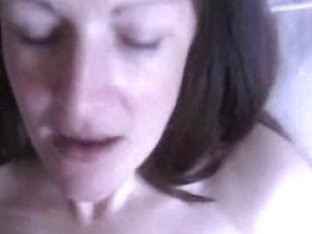 Appetizing woman works hard with her skillful mouth and lips