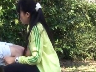 Naughty japanese teen model enjoys outdoor blowjob and sex